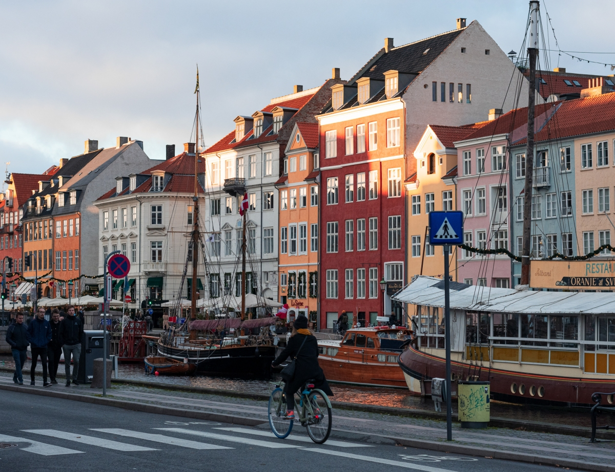 Photo of a person cycling in Copenhagen
